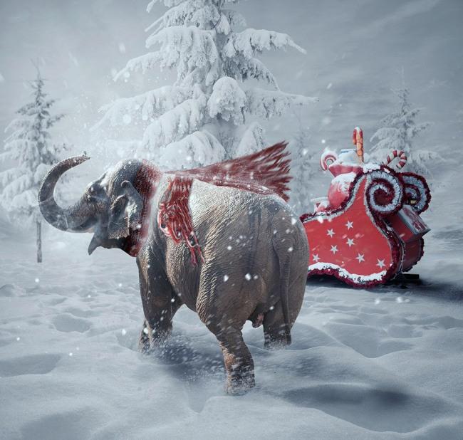 Фото прикол  про новый год и слонов