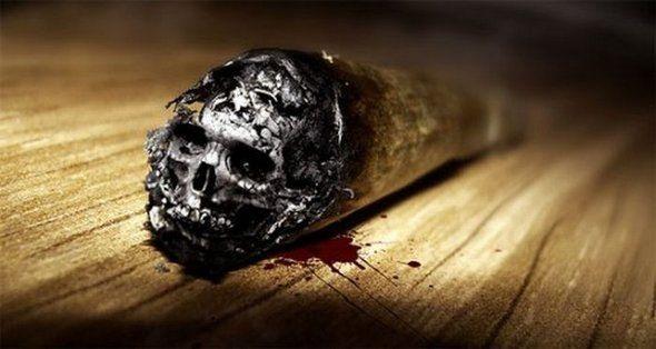 Фото прикол  про курение, вред черный