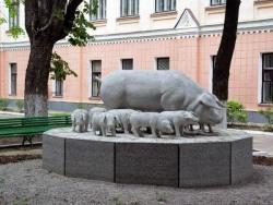 Фото прикол  про памятник и свиней