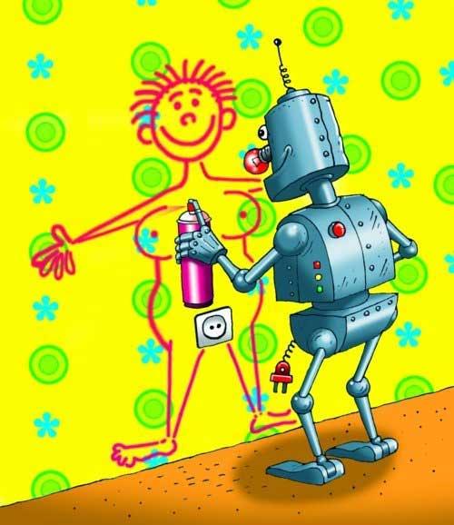 Картинка  про роботов пошлая