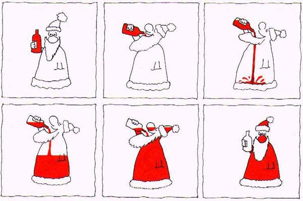 Картинка  про санта клауса и алкоглоль