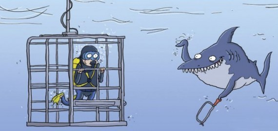 Картинка  про акул черная