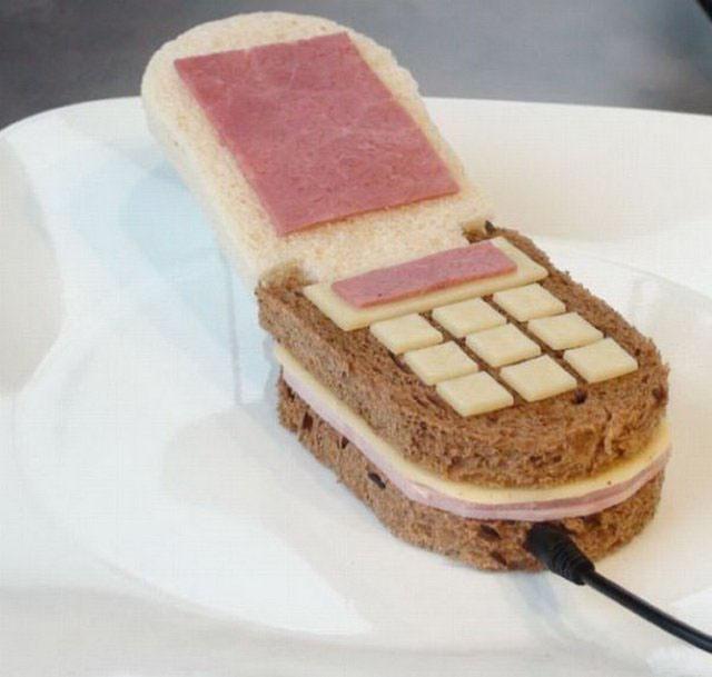 Фото прикол  про телефон и еду
