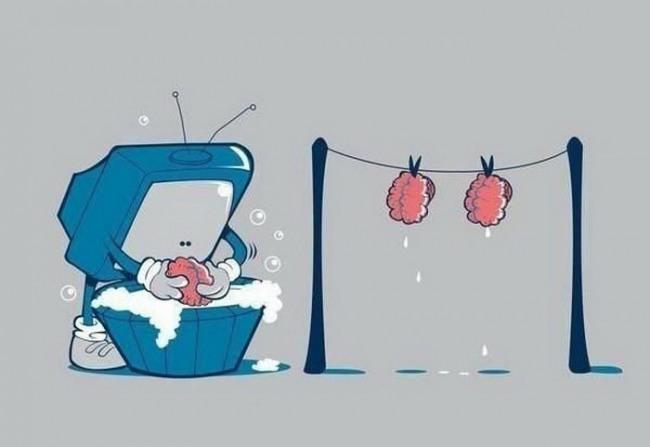 Картинка  про телевизор и мозг