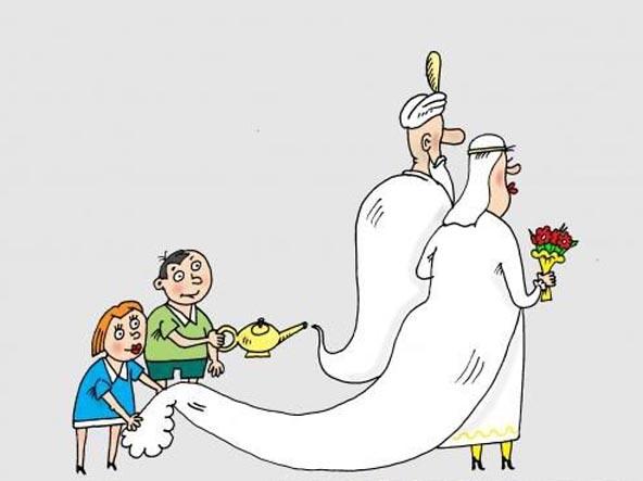 Картинка  про свадьбу и джинна