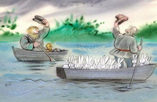 Картинка  про деда мазая и герасима