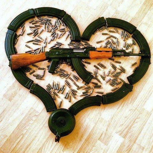 Фото прикол  про валентинку и оружие