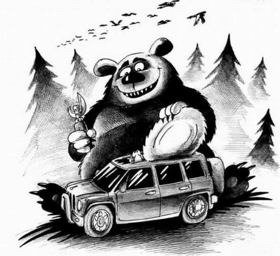 Картинка  про медведей черная