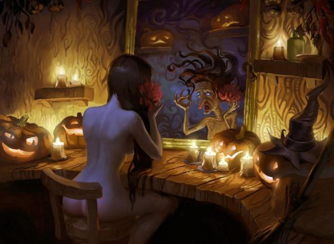 Картинка  про ведьму, хэллоуин пошлая