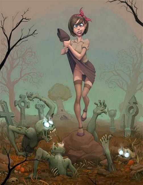Картинка  про кладбище, черный пошлый