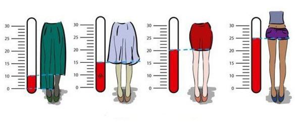 Картинка  про юбку и градусник