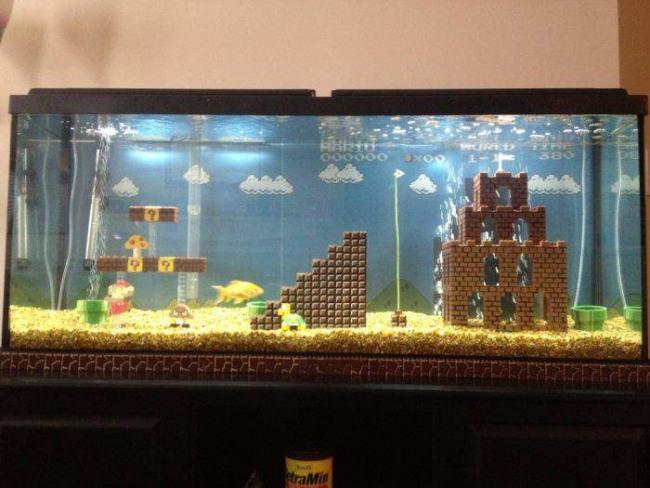 Фото прикол  про аквариум и супер марио