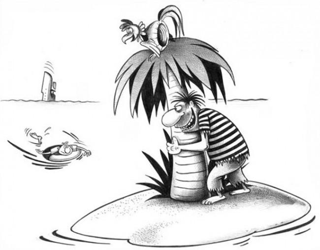 Картинка  про необитаемый остров, кораблекрушение черная