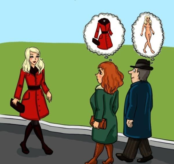 Картинка  про мужчин, женщин, восприятие пошлая