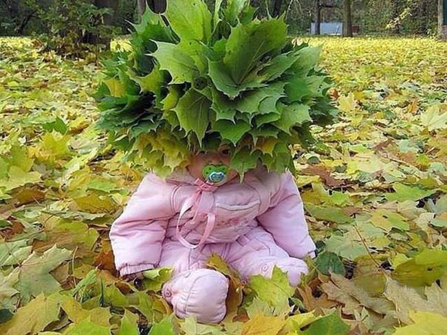 Фото прикол  про детей и листья