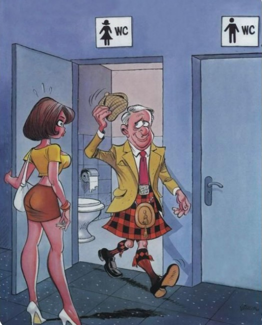 Картинка  про шотландцев и туалет