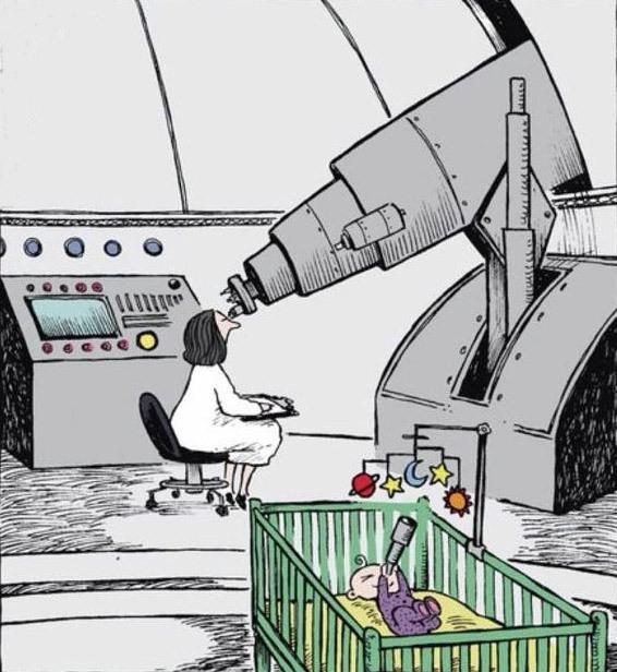Картинка  про телескоп и детей