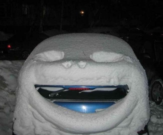 Фото прикол  про снег и автомобили