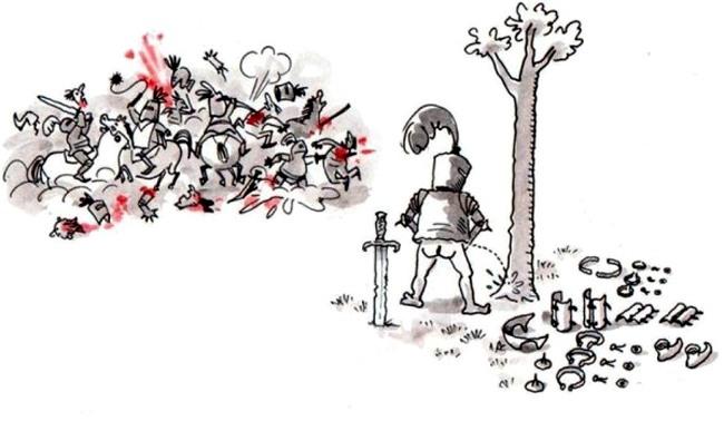 Картинка  про рыцарей и мочеиспускание