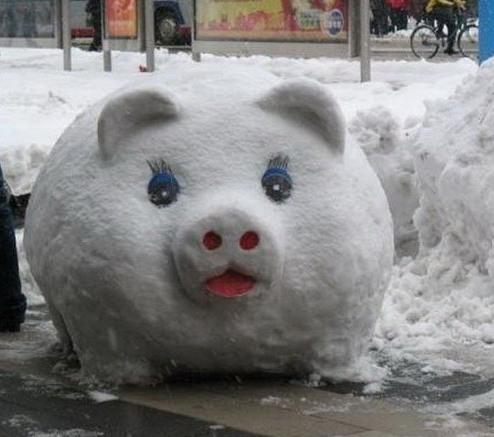 Фото прикол  про снеговика и свиней
