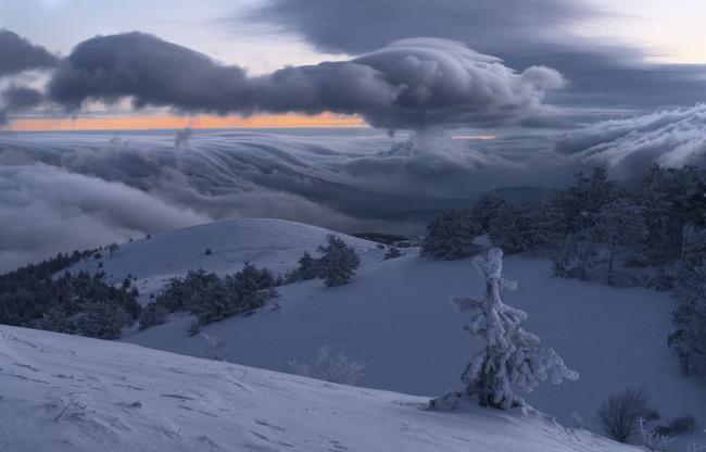 Фото прикол  про зиму и облака