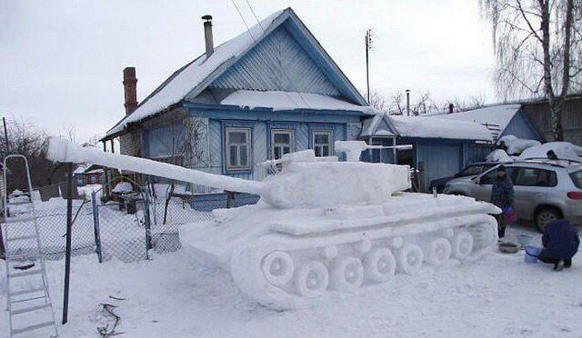 Фото прикол  про снег и танк