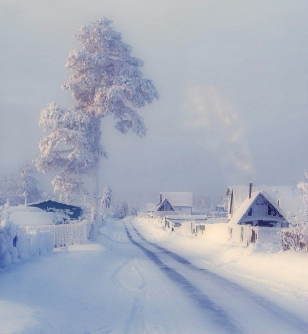Фото прикол  про иней, холод и деревню