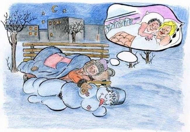 Картинка  про бомжей и снеговика