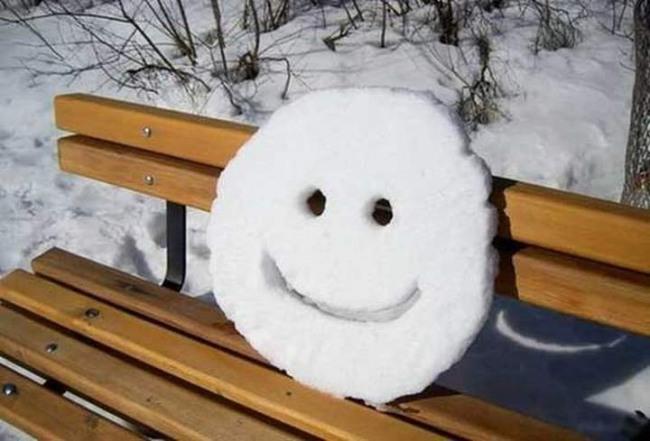 Фото прикол  про улыбку и снег