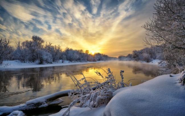 Фото прикол  про зиму и закат