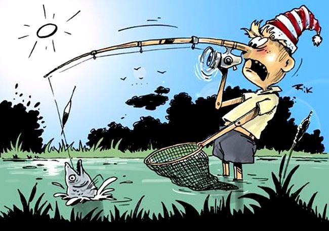 Картинка  про буратино и рыбалку