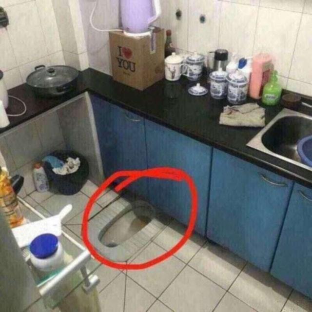 Фото прикол  про унитаз и кухню
