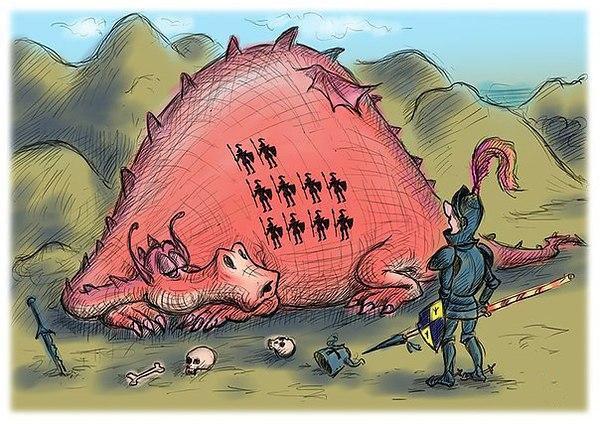 Картинка  про драконов и рыцарей