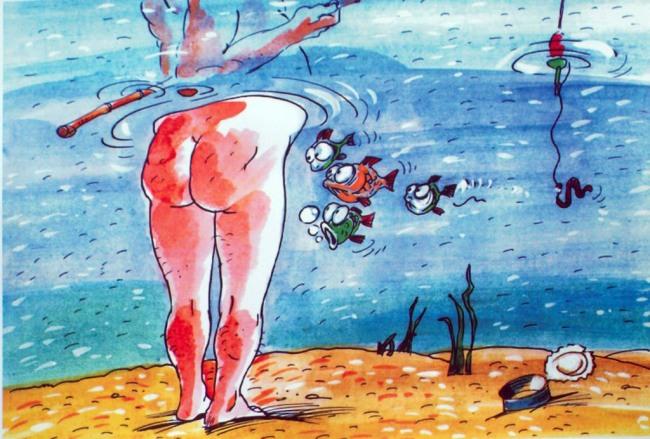 Картинка  про задницу и рыбаков