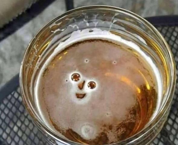 Фото прикол  про пиво, улыбку игра воображения