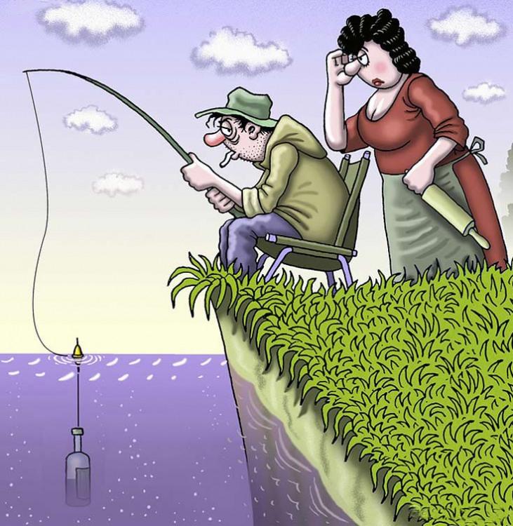Картинка  про рыбалку, бутылку и алкоголь