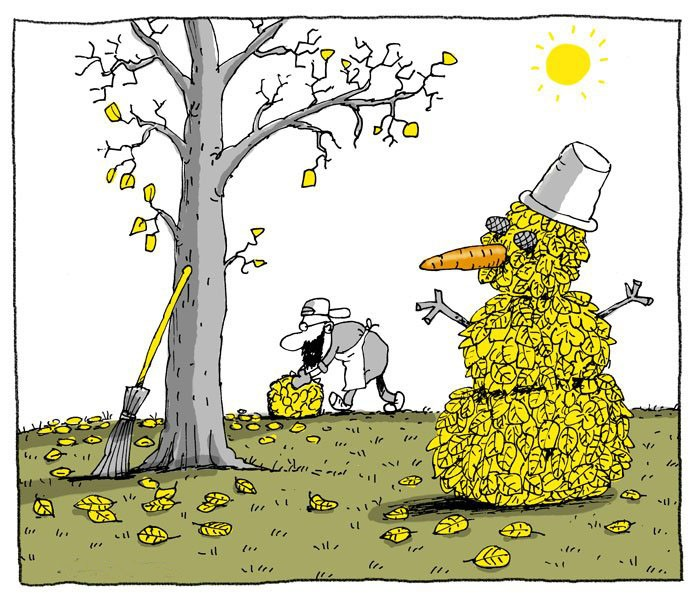 Картинка  про осень, листья и снеговика