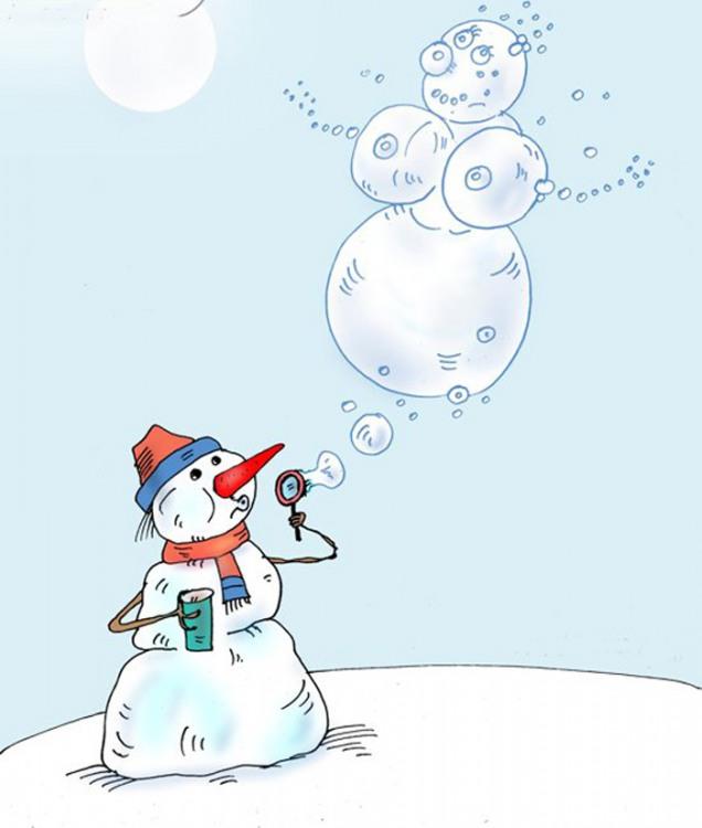 Картинка  про снеговика пошлая