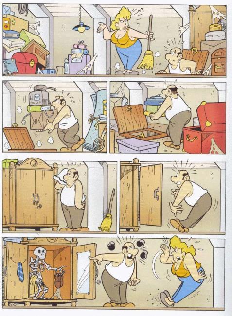 Картинка  про уборку, скелет комикс