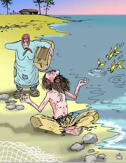 Картинка  про золотую рыбку и медитацию