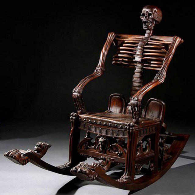Фото прикол  про кресло, скелет черный