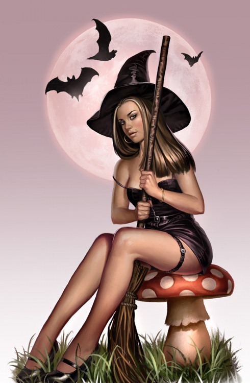 Картинка  про ведьму и хэллоуин