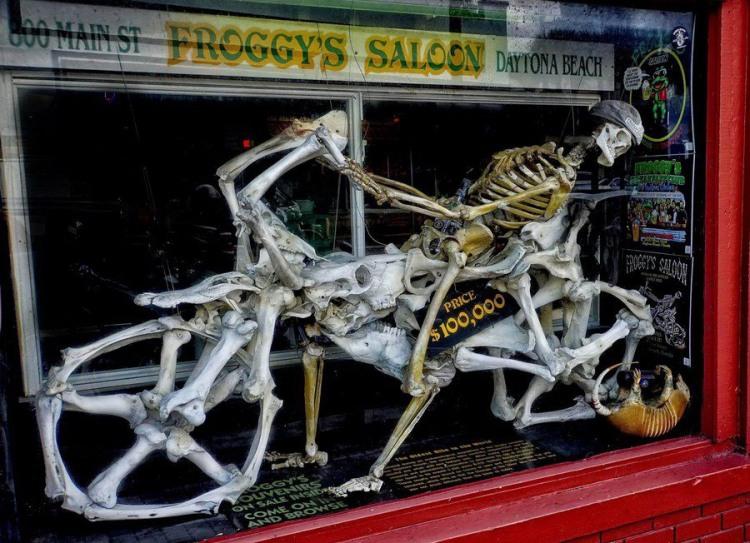 Фото прикол  про скелет, мотоцикл и мотоциклистов