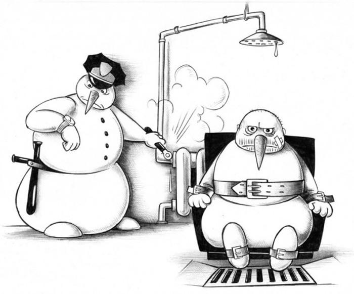 Картинка  про душ, снеговика и казнь