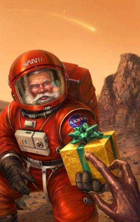 Фото прикол  про санта клауса и космонавтов