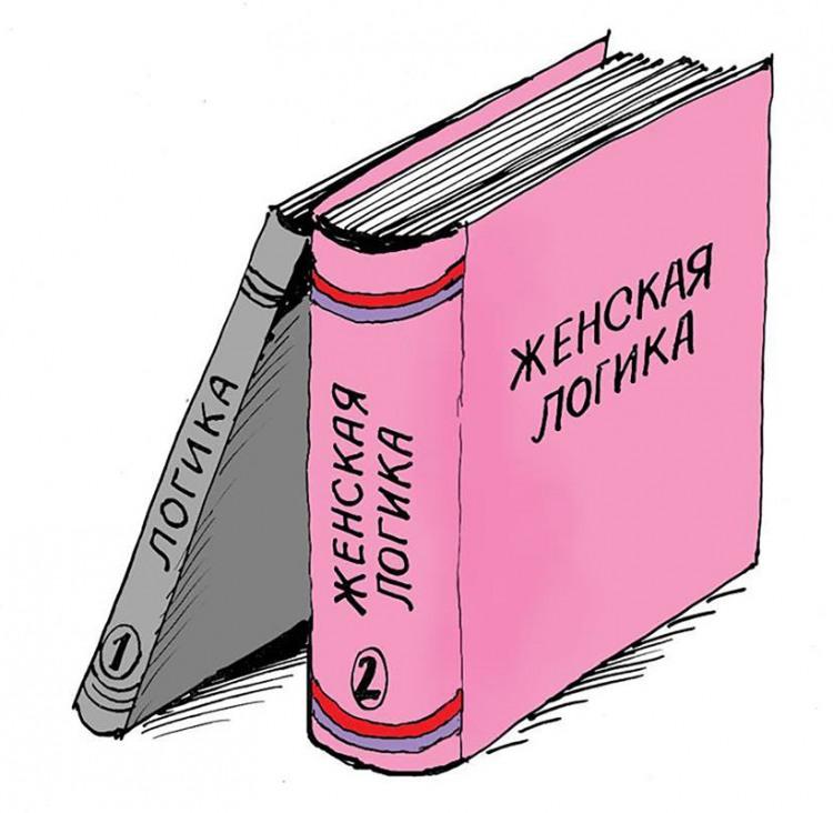 Картинка  про женскую логику, логику и книги
