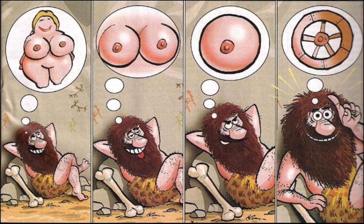 Картинка  про колесо, женскую грудь, первобытных людей пошлая