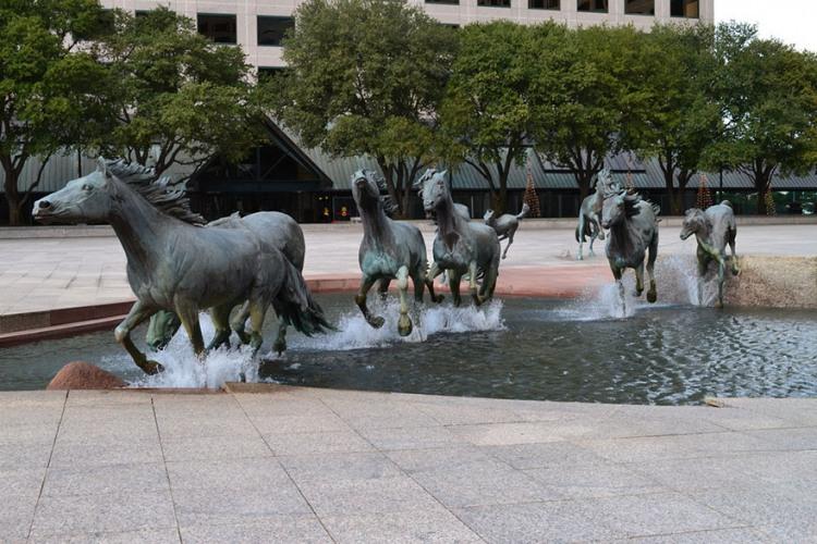 Фото прикол  про фонтан и лошадей