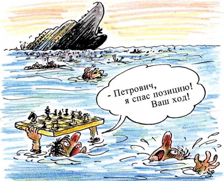 Картинка  про кораблекрушение и шахматистов