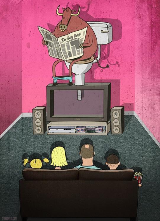 Картинка  про телевизор и корову